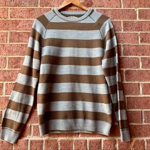 Aeropostale Mens Brown and Gray Striped Sweater